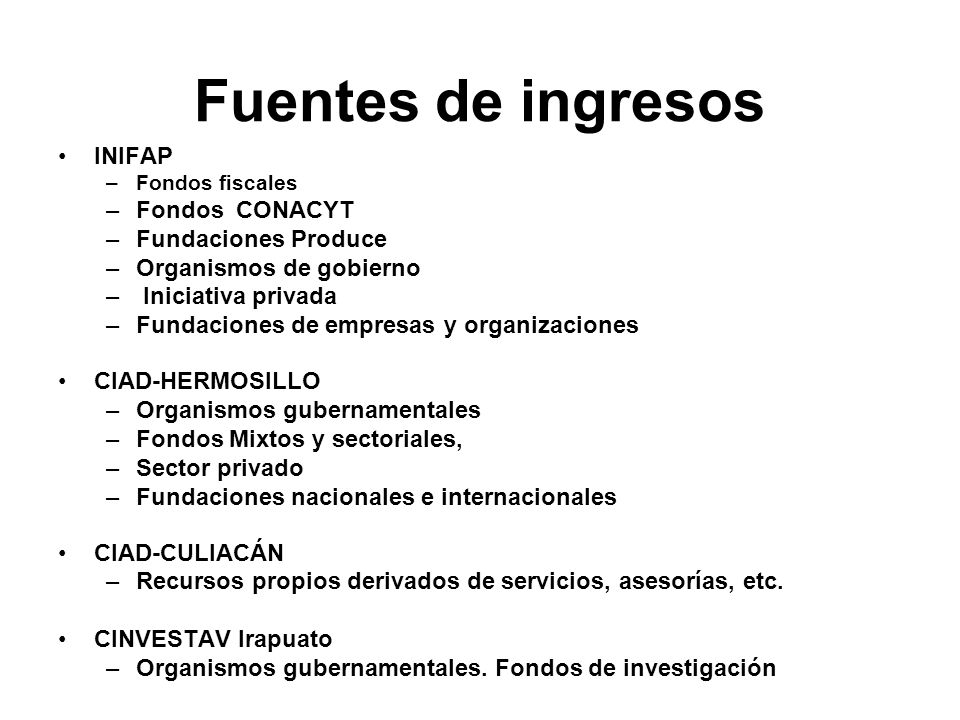 Fuentes de ingresos INIFAP Fondos CONACYT Fundaciones Produce