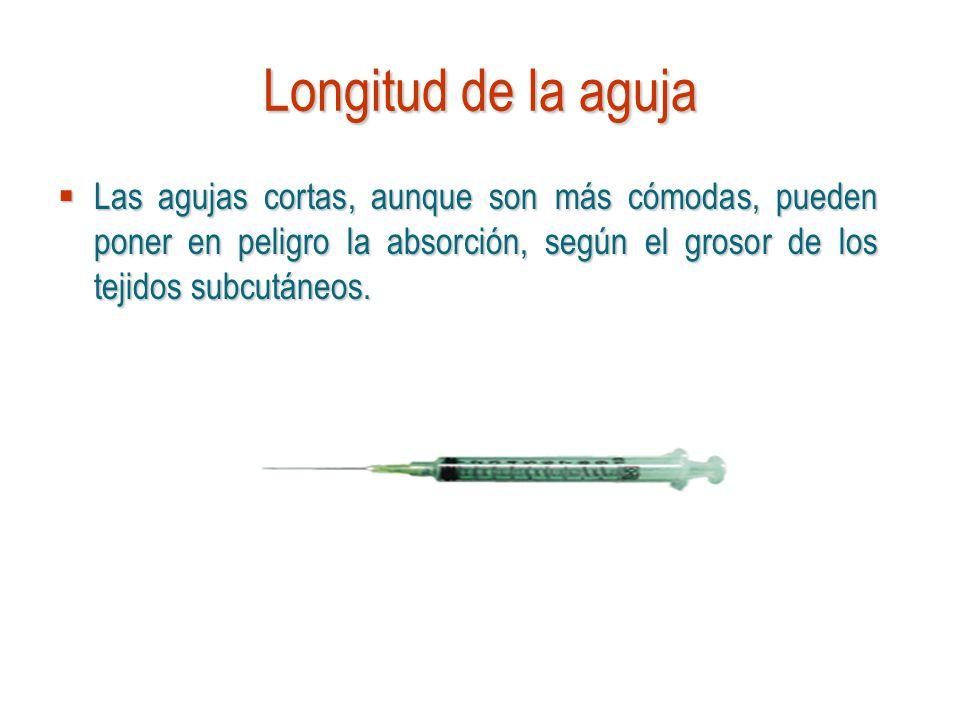 Longitud de la aguja Las agujas cortas, aunque son más cómodas, pueden poner en peligro la absorción, según el grosor de los tejidos subcutáneos.