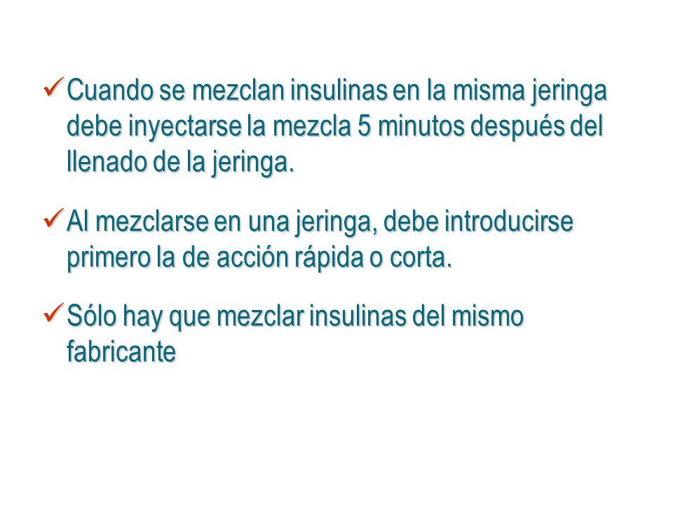 Cuando se mezclan insulinas en la misma jeringa debe inyectarse la mezcla 5 minutos después del llenado de la jeringa.