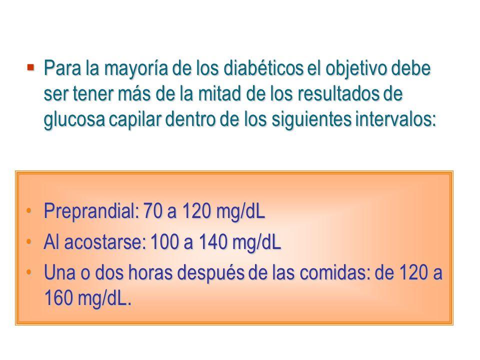 Para la mayoría de los diabéticos el objetivo debe ser tener más de la mitad de los resultados de glucosa capilar dentro de los siguientes intervalos: