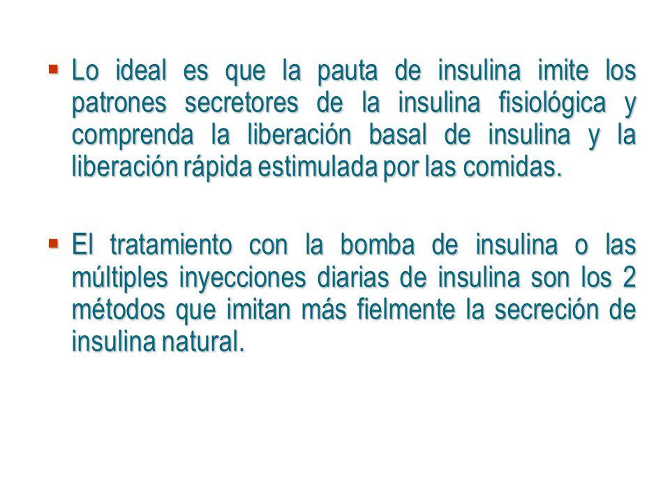 Lo ideal es que la pauta de insulina imite los patrones secretores de la insulina fisiológica y comprenda la liberación basal de insulina y la liberación rápida estimulada por las comidas.