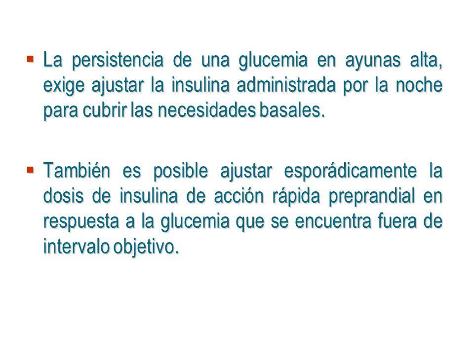 La persistencia de una glucemia en ayunas alta, exige ajustar la insulina administrada por la noche para cubrir las necesidades basales.
