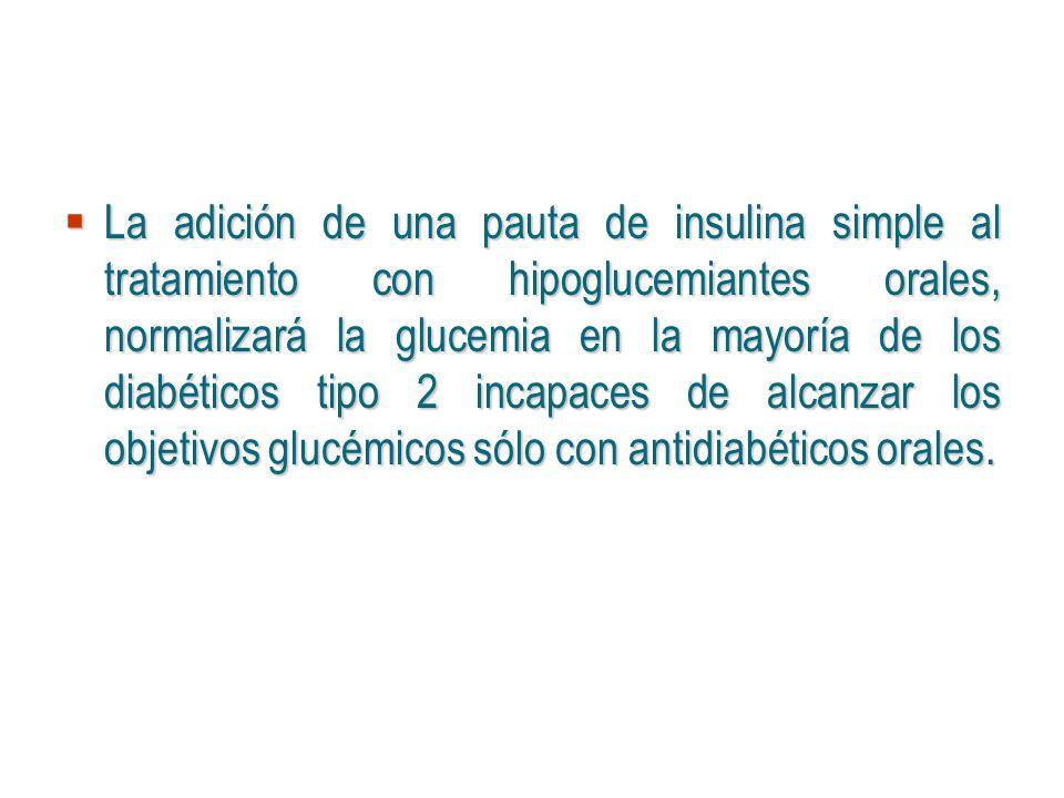 La adición de una pauta de insulina simple al tratamiento con hipoglucemiantes orales, normalizará la glucemia en la mayoría de los diabéticos tipo 2 incapaces de alcanzar los objetivos glucémicos sólo con antidiabéticos orales.