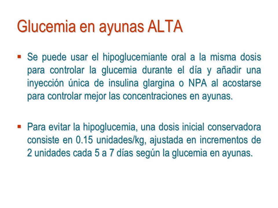 Glucemia en ayunas ALTA