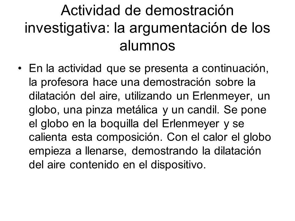 Actividad de demostración investigativa: la argumentación de los alumnos
