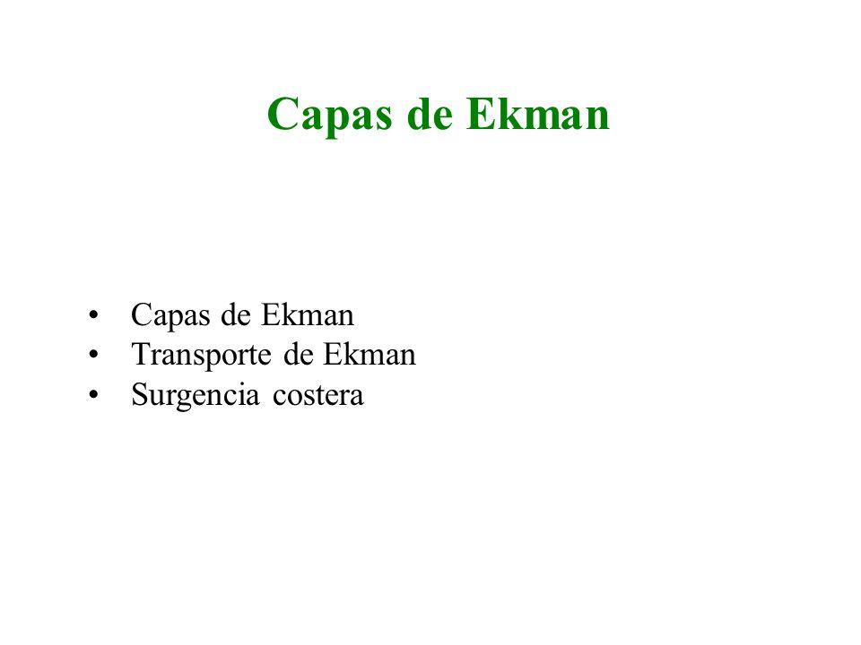 Capas de Ekman Capas de Ekman Transporte de Ekman Surgencia costera