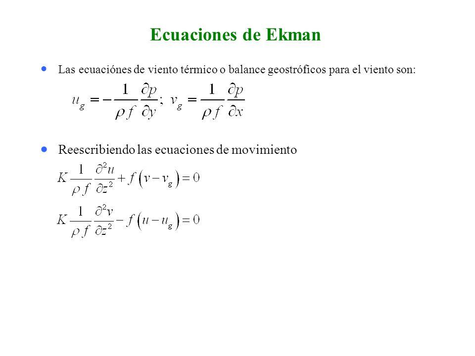 Ecuaciones de Ekman Reescribiendo las ecuaciones de movimiento