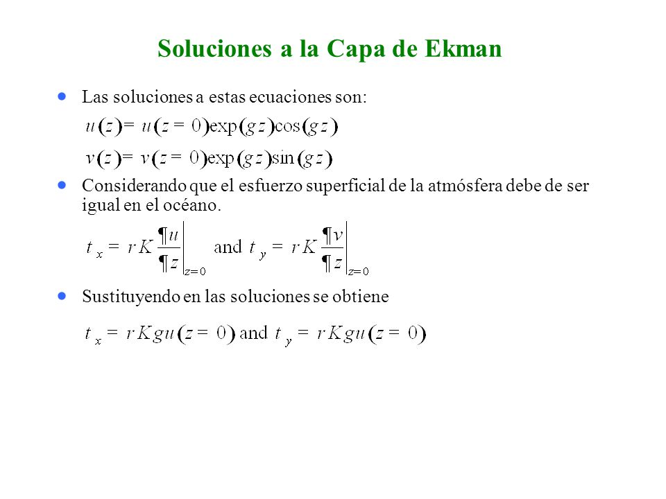 Soluciones a la Capa de Ekman