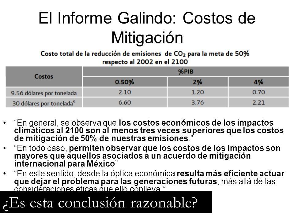 El Informe Galindo: Costos de Mitigación