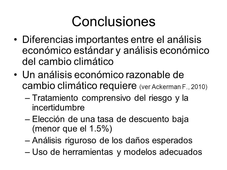 Conclusiones Diferencias importantes entre el análisis económico estándar y análisis económico del cambio climático.