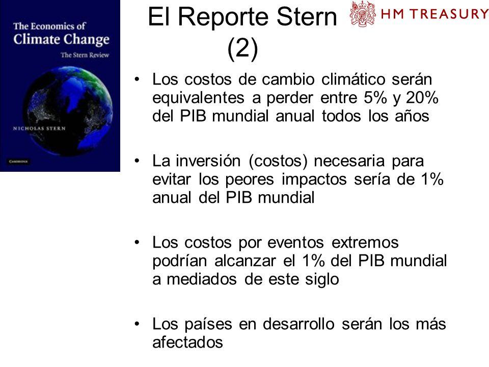 El Reporte Stern (2) Los costos de cambio climático serán equivalentes a perder entre 5% y 20% del PIB mundial anual todos los años.