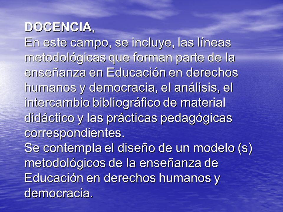 DOCENCIA, En este campo, se incluye, las líneas metodológicas que forman parte de la enseñanza en Educación en derechos humanos y democracia, el análisis, el intercambio bibliográfico de material didáctico y las prácticas pedagógicas correspondientes.