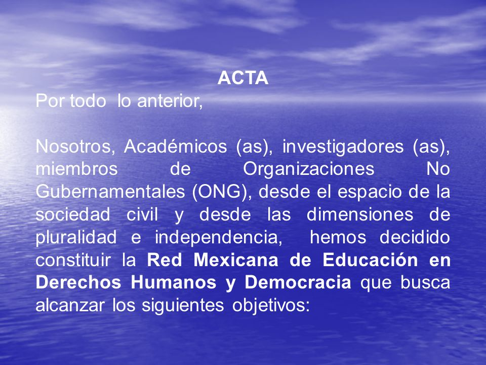 ACTA Por todo lo anterior,
