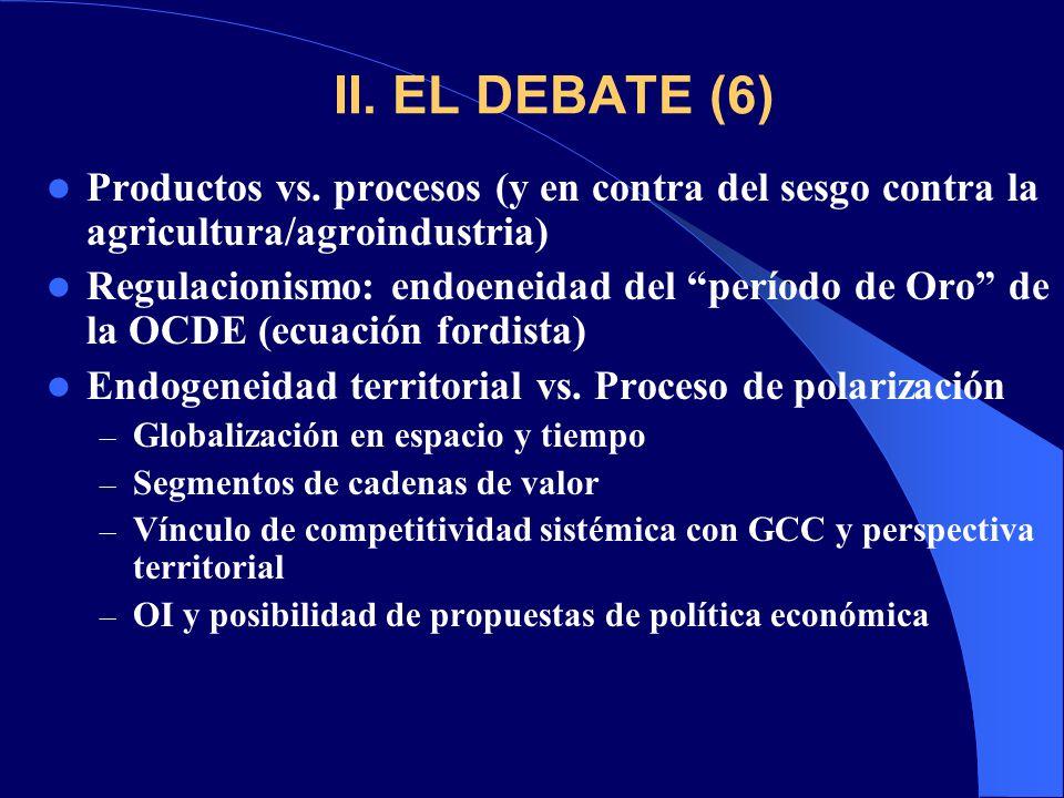 II. EL DEBATE (6) Productos vs. procesos (y en contra del sesgo contra la agricultura/agroindustria)