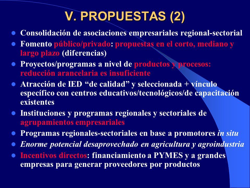 V. PROPUESTAS (2) Consolidación de asociaciones empresariales regional-sectorial.