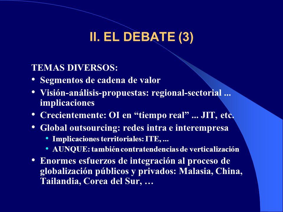 II. EL DEBATE (3) TEMAS DIVERSOS: Segmentos de cadena de valor