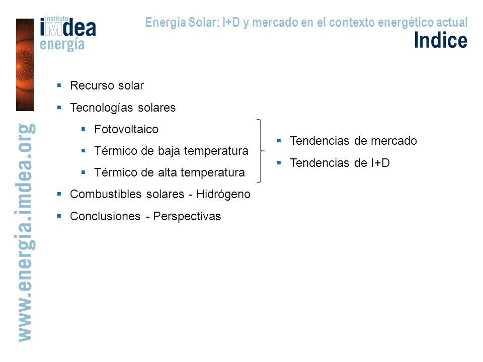 Indice Energía Solar: I+D y mercado en el contexto energético actual