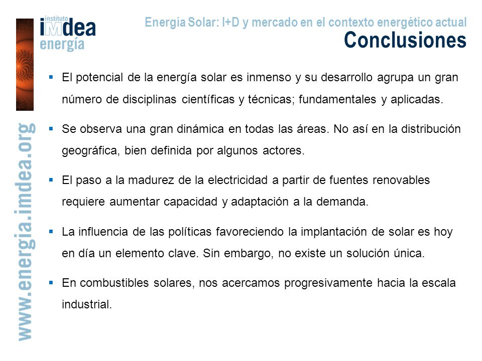 Energía Solar: I+D y mercado en el contexto energético actual Conclusiones