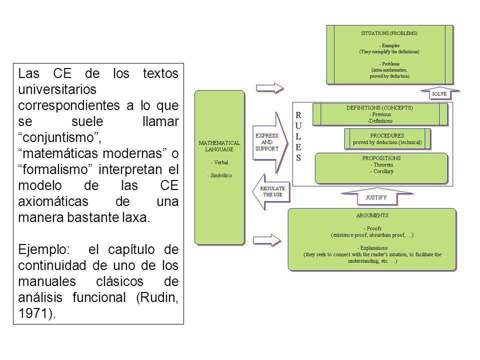 Las CE de los textos universitarios correspondientes a lo que se suele llamar conjuntismo , matemáticas modernas o formalismo interpretan el modelo de las CE axiomáticas de una manera bastante laxa.