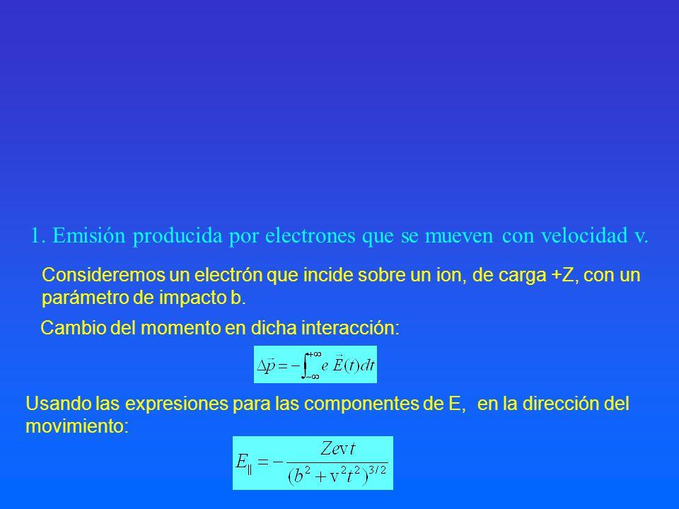 1. Emisión producida por electrones que se mueven con velocidad v.