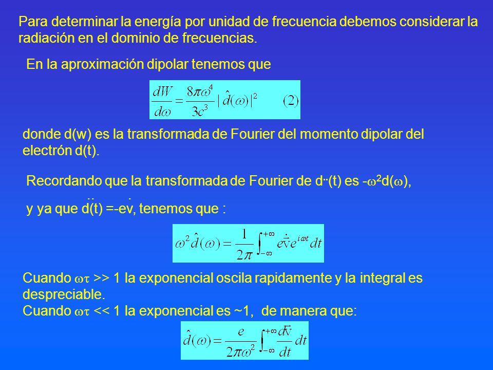 Para determinar la energía por unidad de frecuencia debemos considerar la