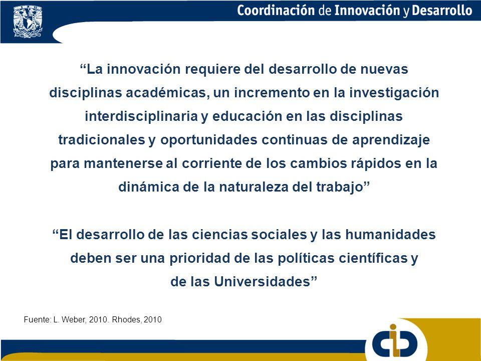 La innovación requiere del desarrollo de nuevas disciplinas académicas, un incremento en la investigación interdisciplinaria y educación en las disciplinas tradicionales y oportunidades continuas de aprendizaje para mantenerse al corriente de los cambios rápidos en la dinámica de la naturaleza del trabajo