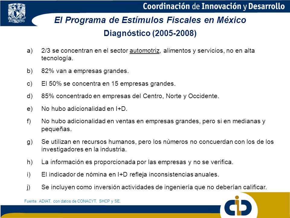 El Programa de Estímulos Fiscales en México