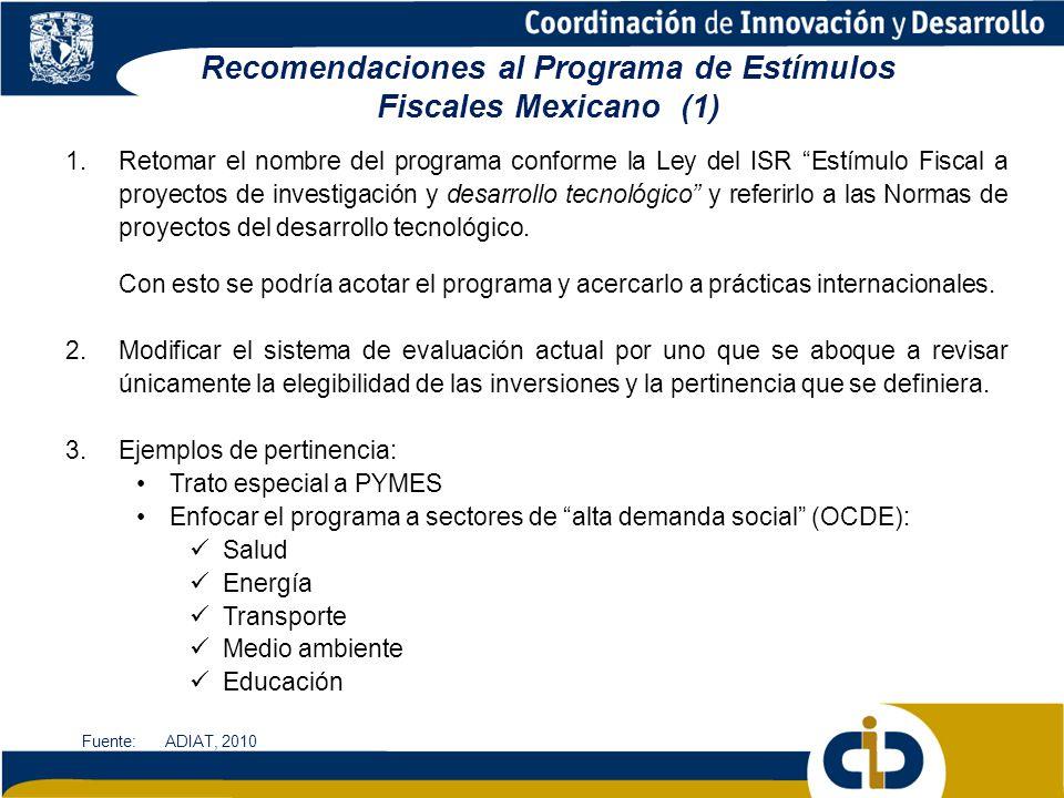 Recomendaciones al Programa de Estímulos Fiscales Mexicano (1)