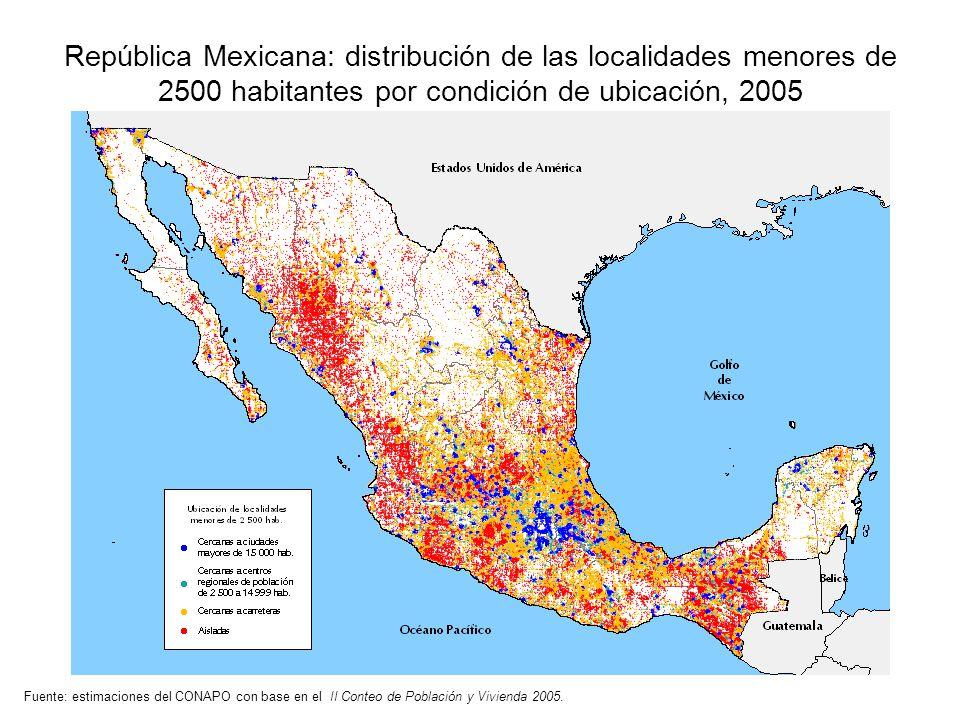 República Mexicana: distribución de las localidades menores de 2500 habitantes por condición de ubicación, 2005