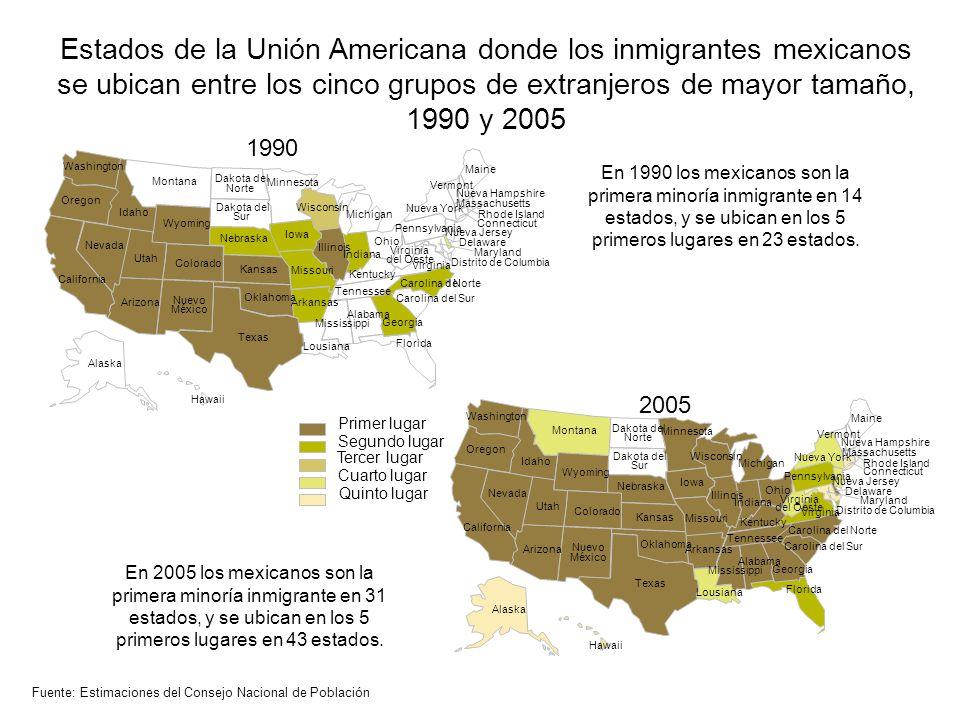 Estados de la Unión Americana donde los inmigrantes mexicanos se ubican entre los cinco grupos de extranjeros de mayor tamaño, 1990 y 2005