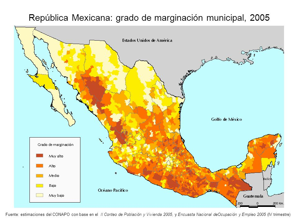 República Mexicana: grado de marginación municipal, 2005