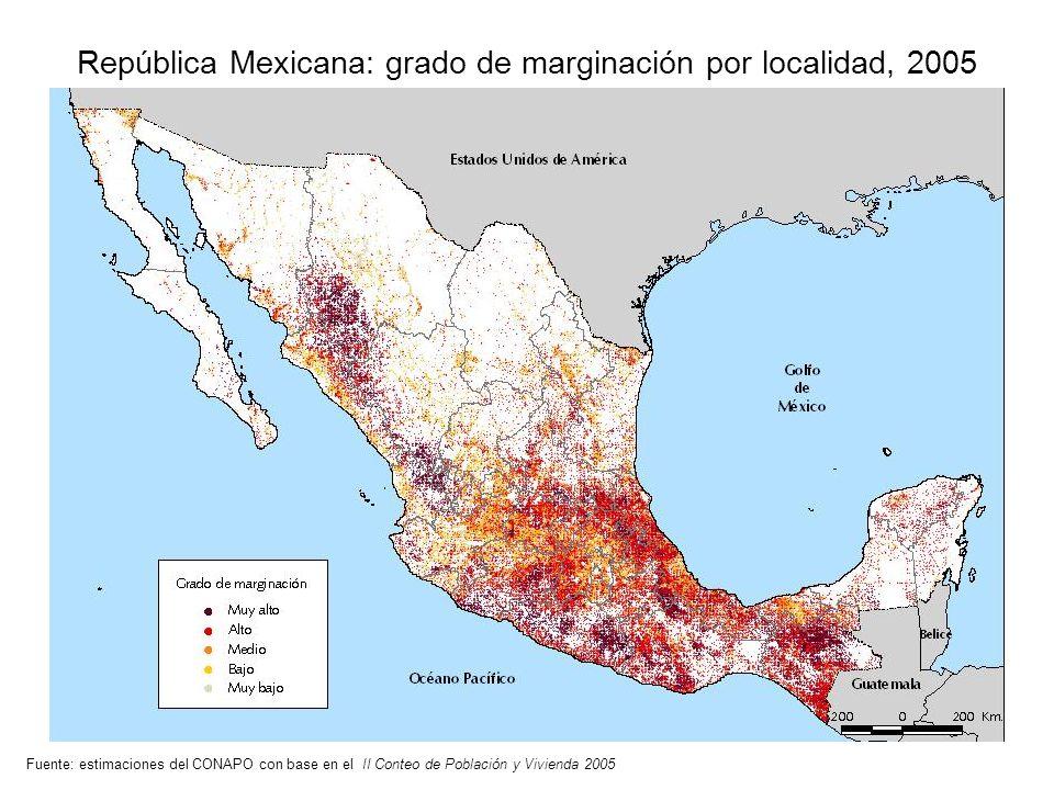 República Mexicana: grado de marginación por localidad, 2005