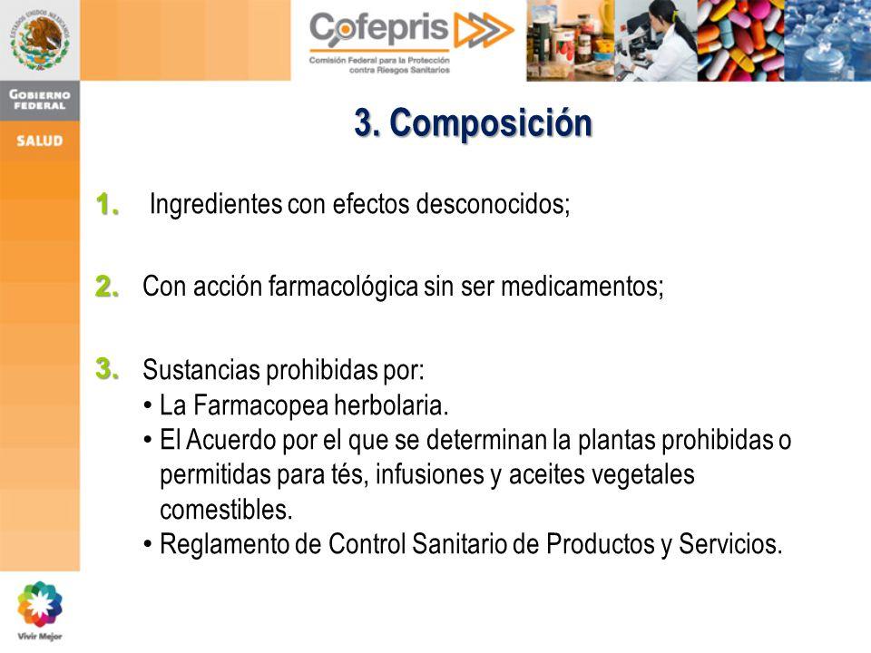 3. Composición 1. Ingredientes con efectos desconocidos; 2.