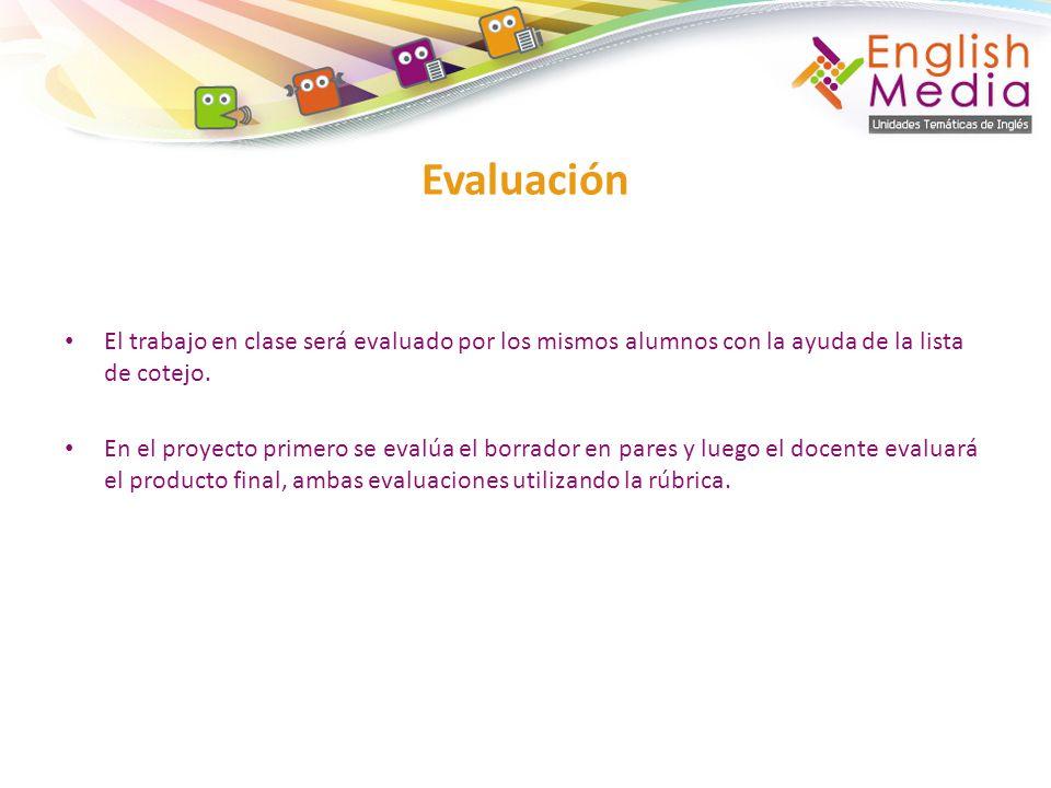 Evaluación El trabajo en clase será evaluado por los mismos alumnos con la ayuda de la lista de cotejo.