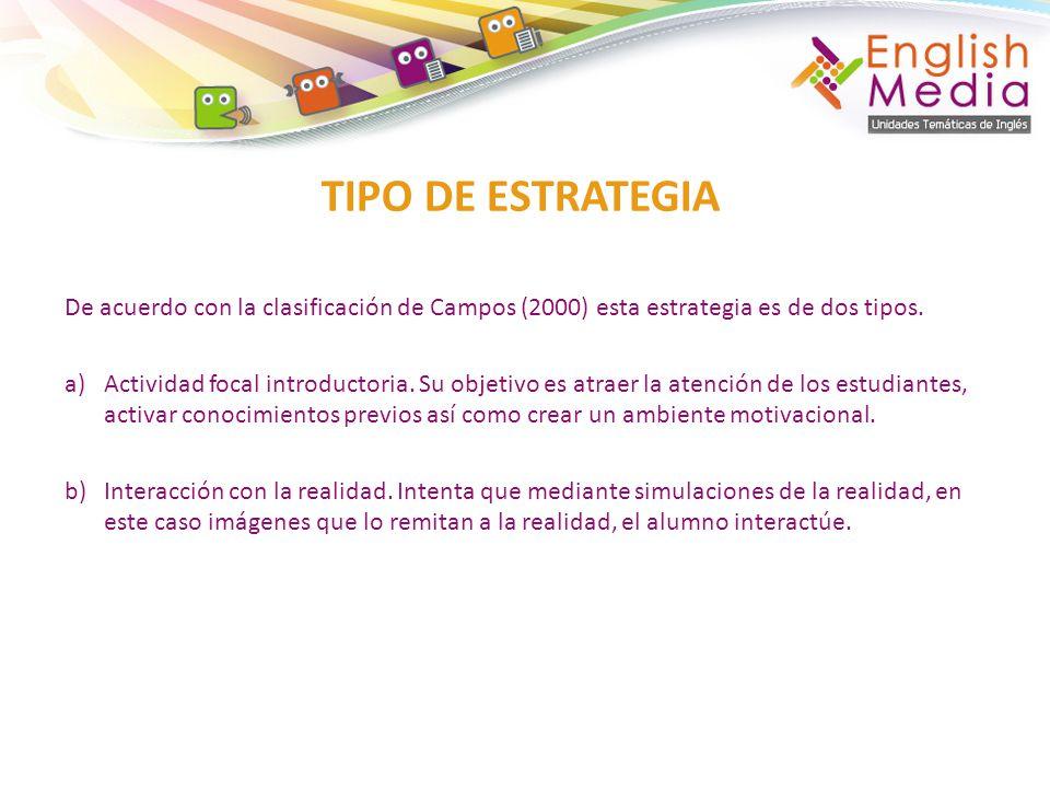 TIPO DE ESTRATEGIA De acuerdo con la clasificación de Campos (2000) esta estrategia es de dos tipos.