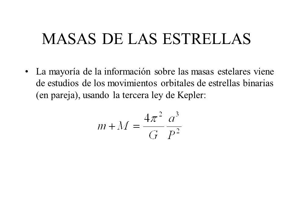 MASAS DE LAS ESTRELLAS