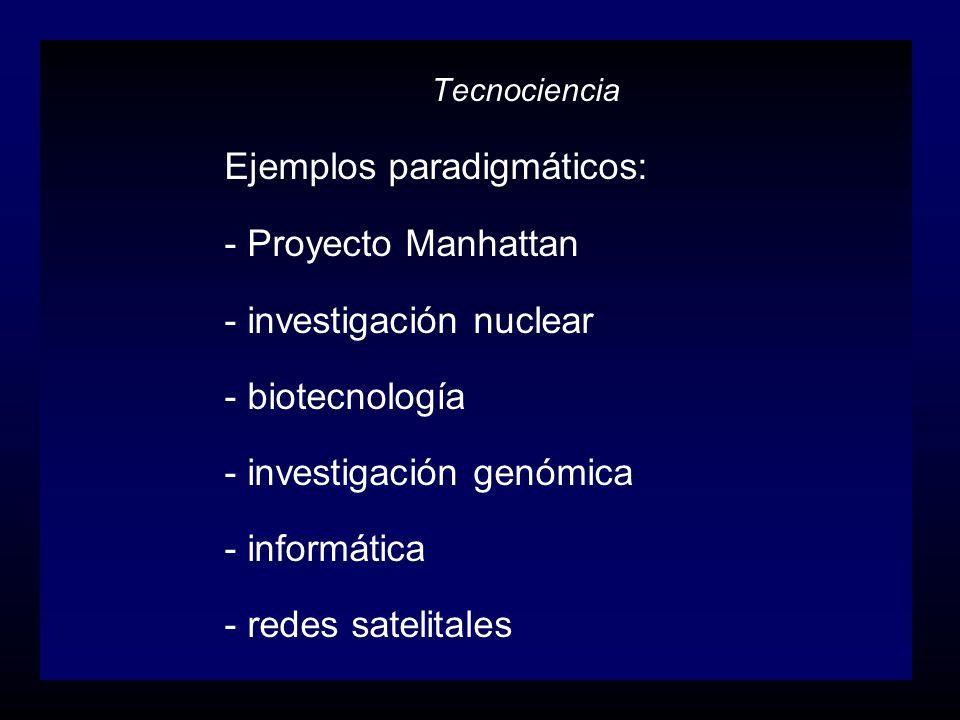 Ejemplos paradigmáticos: - Proyecto Manhattan - investigación nuclear