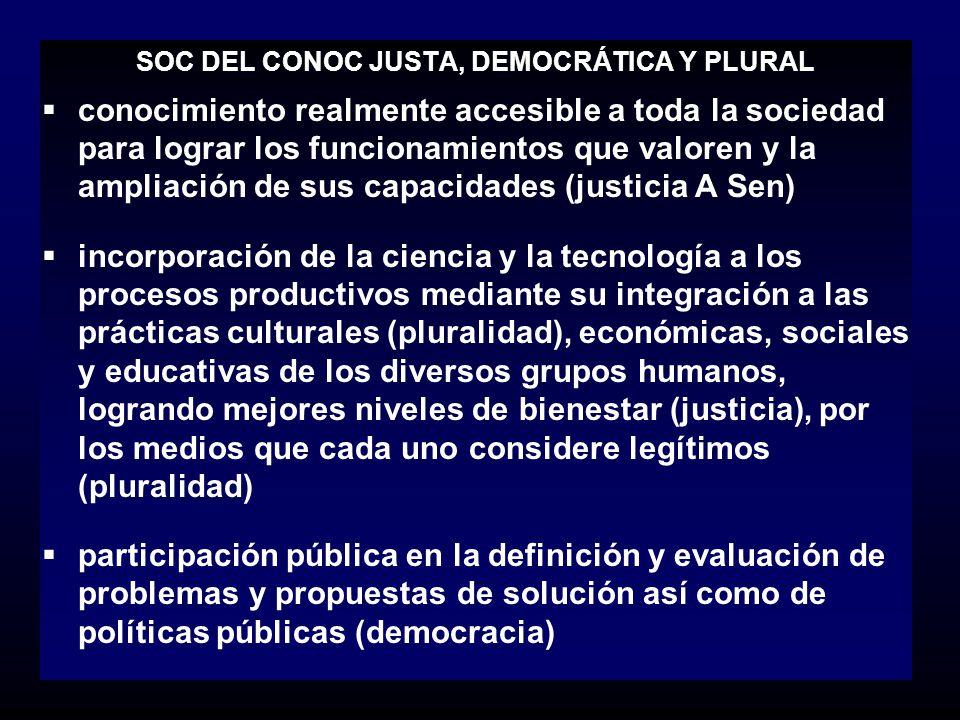 SOC DEL CONOC JUSTA, DEMOCRÁTICA Y PLURAL
