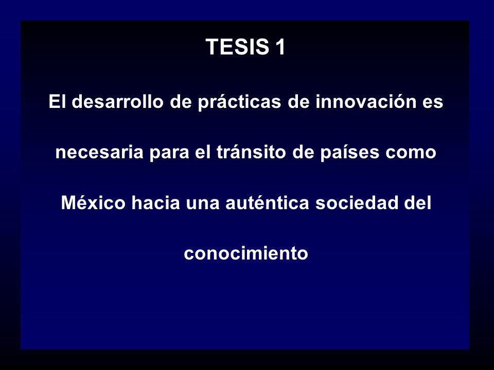TESIS 1 El desarrollo de prácticas de innovación es necesaria para el tránsito de países como México hacia una auténtica sociedad del conocimiento.