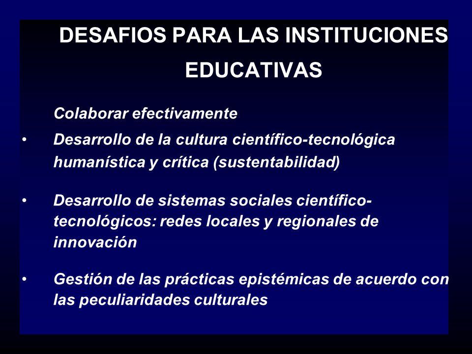 DESAFIOS PARA LAS INSTITUCIONES EDUCATIVAS