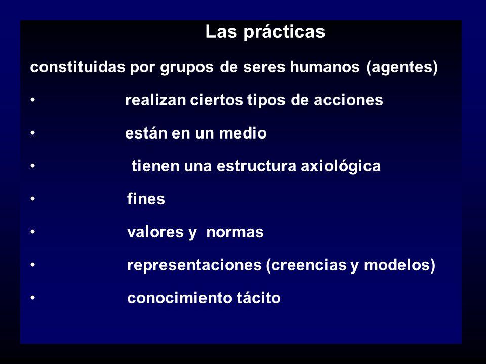 constituidas por grupos de seres humanos (agentes)