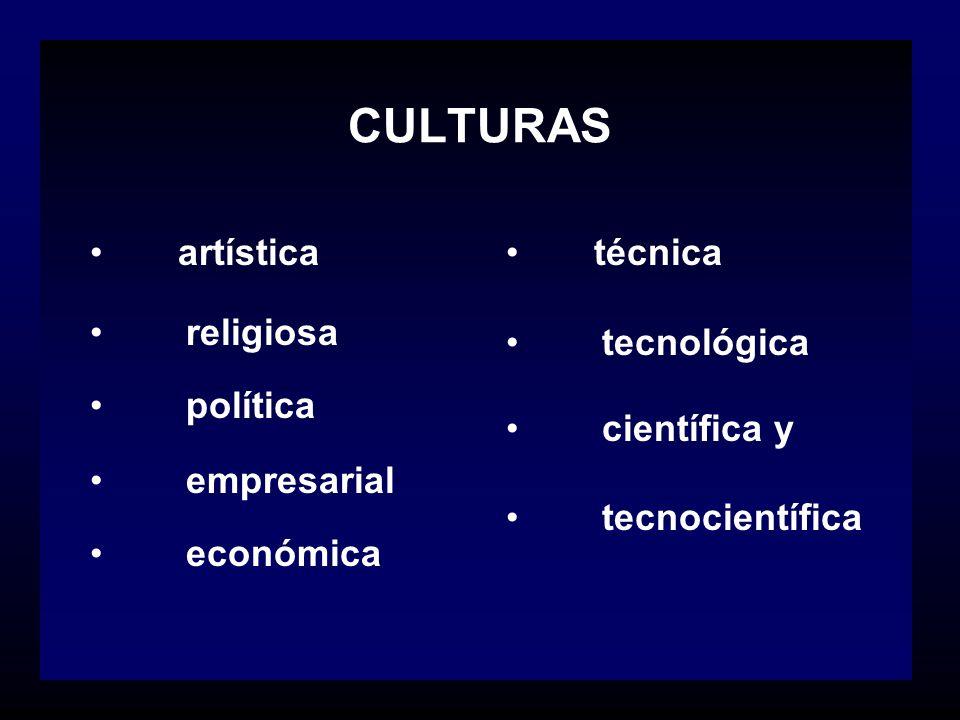 CULTURAS artística religiosa política empresarial económica técnica