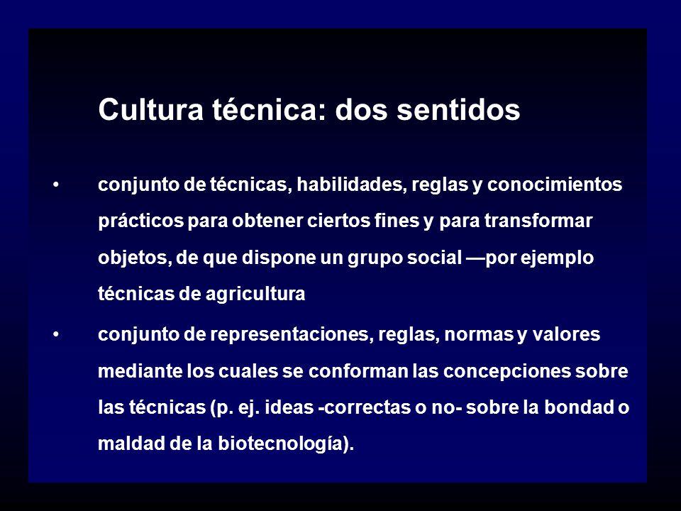 Cultura técnica: dos sentidos