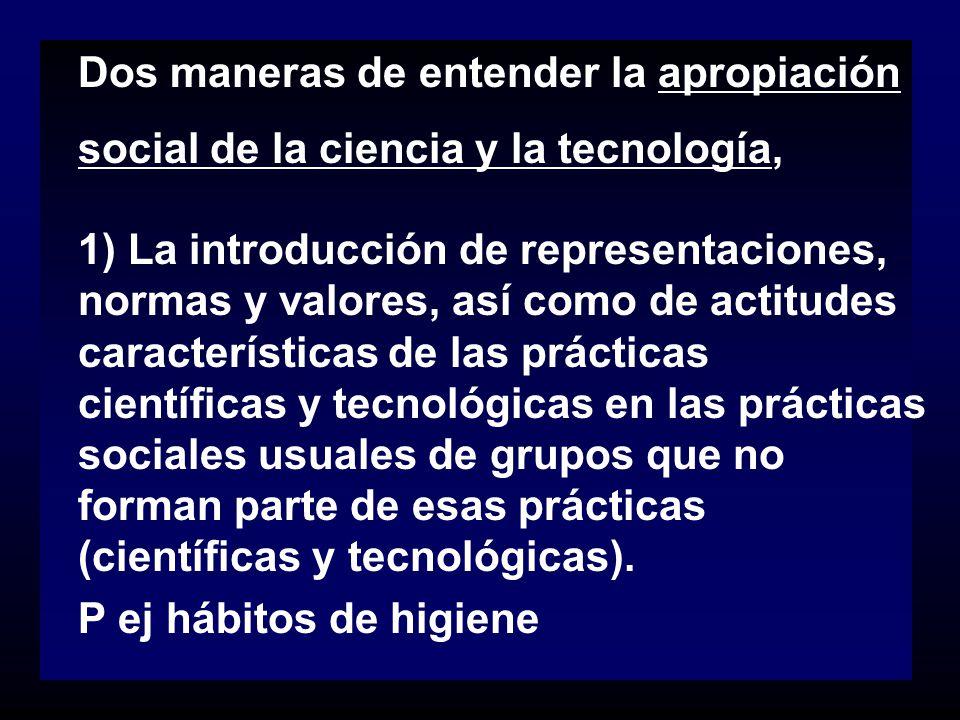 Dos maneras de entender la apropiación social de la ciencia y la tecnología,