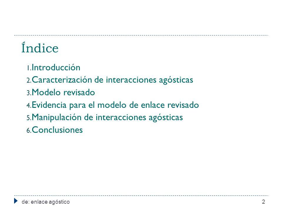 Índice Introducción Caracterización de interacciones agósticas