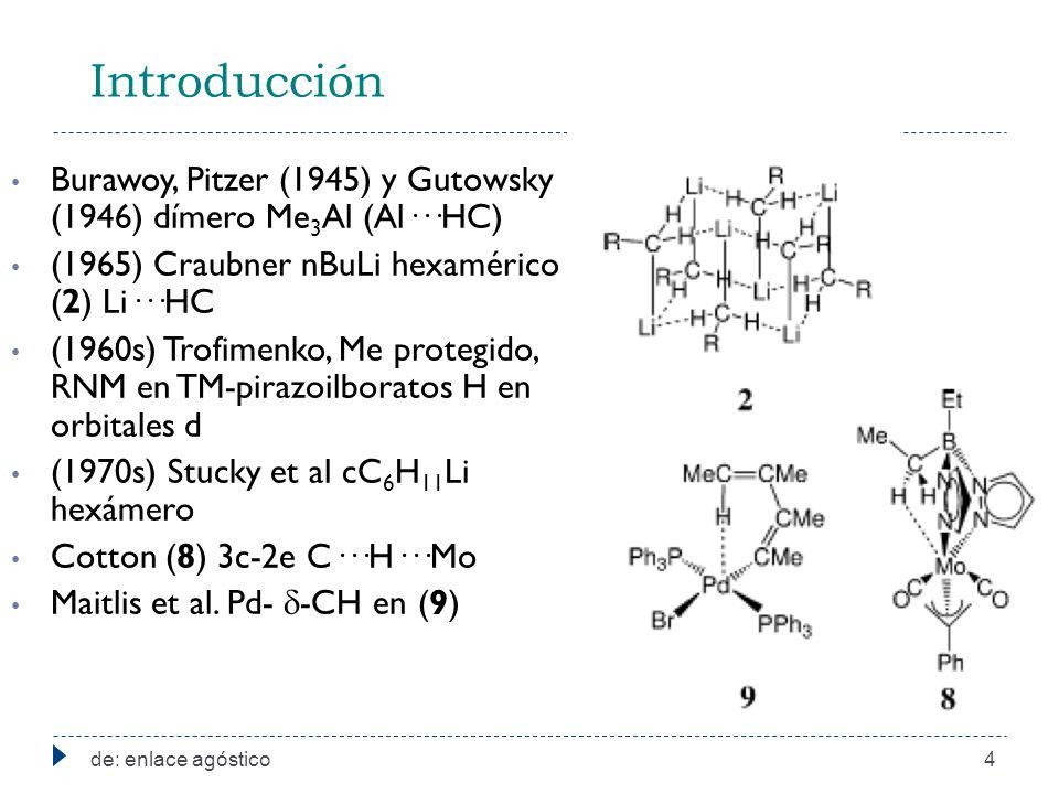 Introducción Burawoy, Pitzer (1945) y Gutowsky (1946) dímero Me3Al (Al···HC) (1965) Craubner nBuLi hexamérico (2) Li···HC.