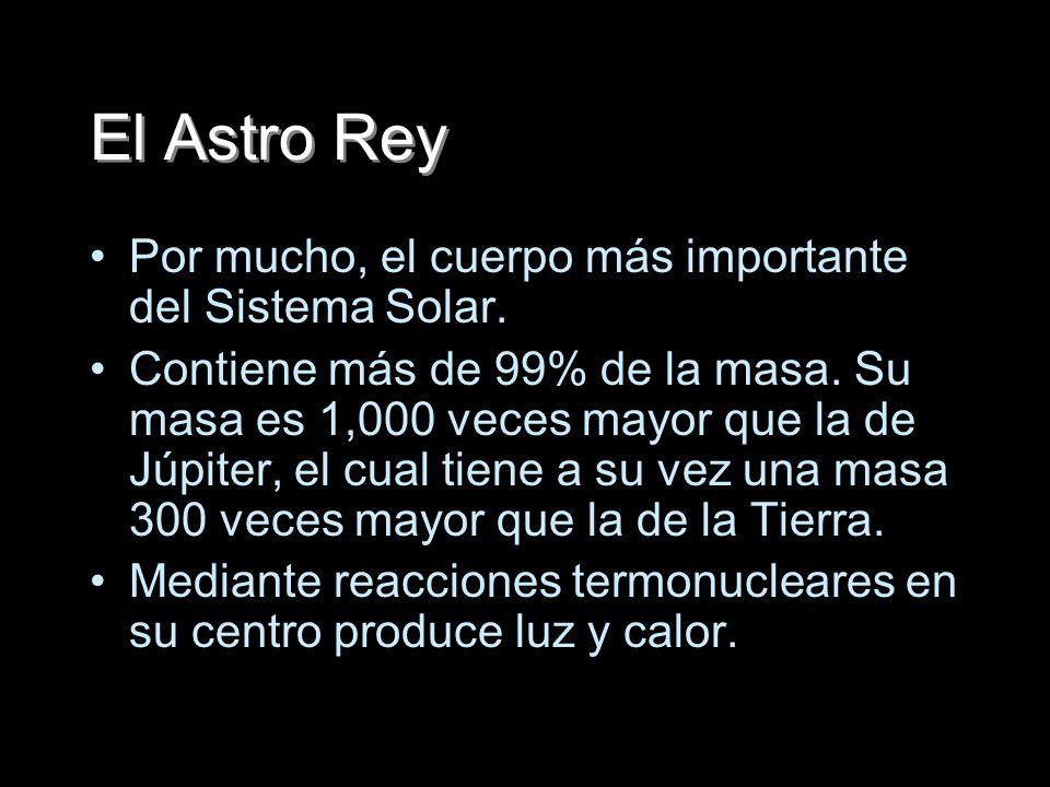El Astro Rey Por mucho, el cuerpo más importante del Sistema Solar.