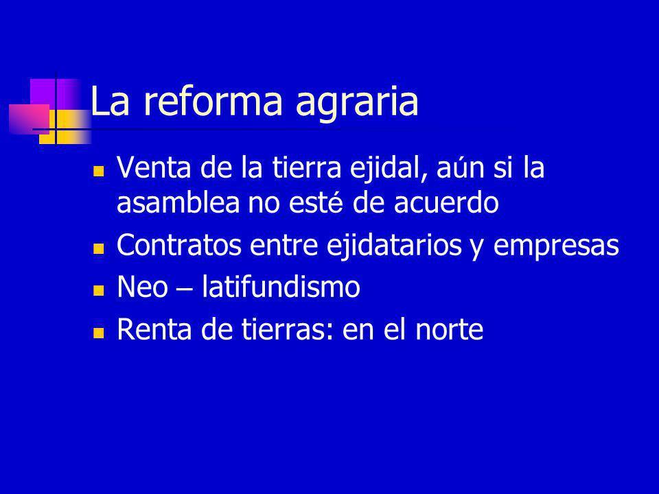 La reforma agraria Venta de la tierra ejidal, aún si la asamblea no esté de acuerdo. Contratos entre ejidatarios y empresas.