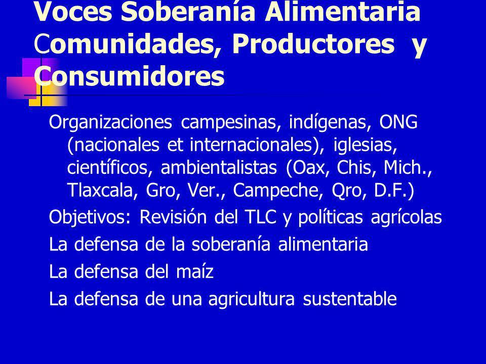 Voces Soberanía Alimentaria Comunidades, Productores y Consumidores