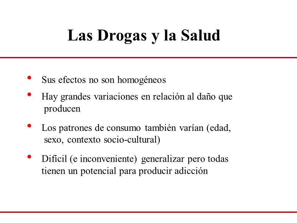 Las Drogas y la Salud Sus efectos no son homogéneos